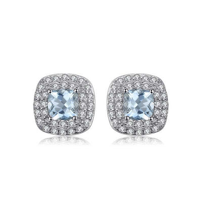 0.9ct Natural Aquamarine Earrings - jpgstorepro.com/ring/bracelet/earrings/necklace/birthstone/gemstone/sterling silver/ruby/emerald/sapphire/diamond/amethyst/aquamarine/citrine