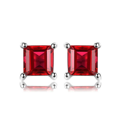 Natural Garnet Solid Silver Earrings - jpgstorepro.com