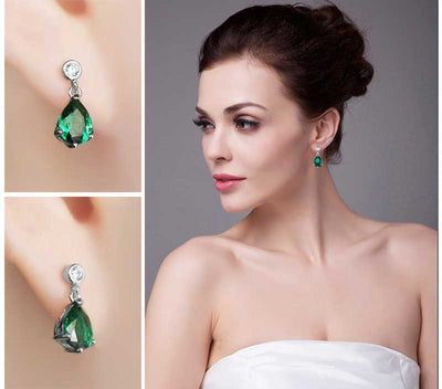 6ct Pear Emerald Earrings - jpgstorepro.com/ring/bracelet/earrings/necklace/birthstone/gemstone/sterling silver/ruby/emerald/sapphire/diamond/amethyst/aquamarine/citrine