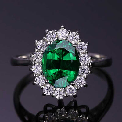 2.74 ct Emerald Silver Ring - jpgstorepro.com/ring/bracelet/earrings/necklace/birthstone/gemstone/sterling silver/ruby/emerald/sapphire/diamond/amethyst/aquamarine/citrine