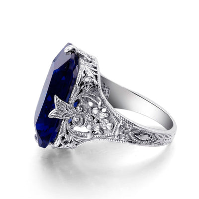 Square Silver Sapphire Ring