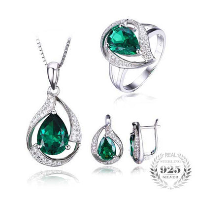 Water Drop Emerald Jewelry Set best mother's day luxury gift- jpgstorepro.com