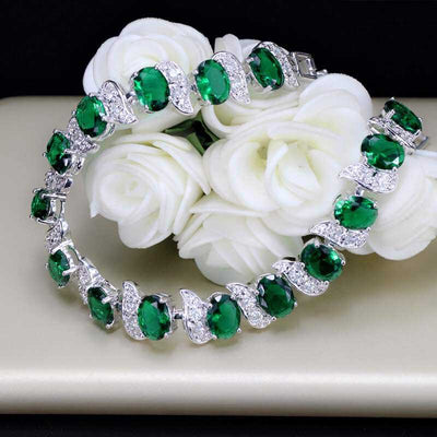 Emerald Sterling Silver Bracelet best mother's day luxury gift - jpgstorepro.com