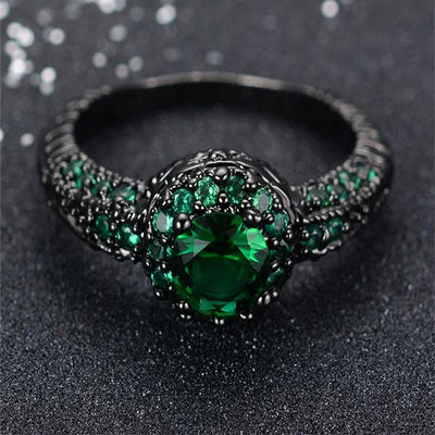 Emerald Gemstone Black Gold Rings - jpgstorepro.com/ring/bracelet/earrings/necklace/birthstone/gemstone/sterling silver/ruby/emerald/sapphire/diamond/amethyst/aquamarine/citrine