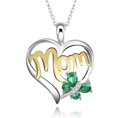 Emerald Mom Necklace - jpgstorepro.com/ring/bracelet/earrings/necklace/birthstone/gemstone/sterling silver/ruby/emerald/sapphire/diamond/amethyst/aquamarine/citrine
