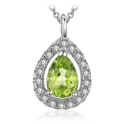 0.8ct Natural Peridot Pear Necklace - jpgstorepro.com/ring/bracelet/earrings/necklace/birthstone/gemstone/sterling silver/ruby/emerald/sapphire/diamond/amethyst/aquamarine/citrine
