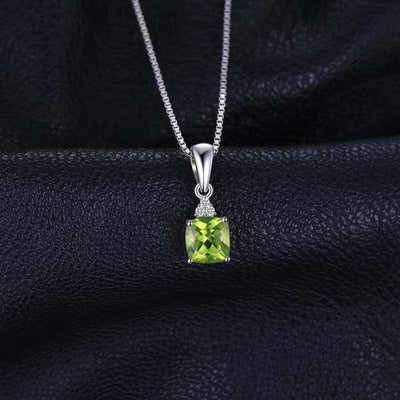 1.1ct Cushion Peridot Necklace - jpgstorepro.com/ring/bracelet/earrings/necklace/birthstone/gemstone/sterling silver/ruby/emerald/sapphire/diamond/amethyst/aquamarine/citrine