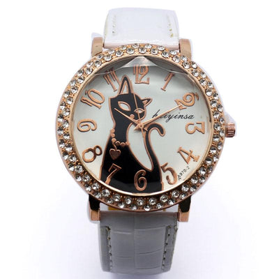 Lovely Black Crystal Cat Quartz Watch - jpgstorepro.com