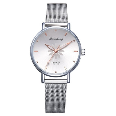 Luxury Silver Flowers Watch