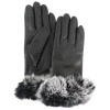 Women's Fur Trim Leather Tech Gloves