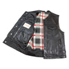 Men's Leather Vest Red Flannel Interior