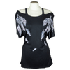Women's Cutout Shoulder Feather Top