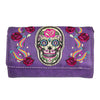 Women's Sugar Skull Rose Trifold Wallet