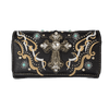 Women's Cross Embroidered Trifold Wallet