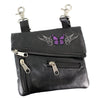 Butterfly Embroidered Leather Clip Bag
