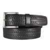 Canadian Made Tooled Stitch Black Leather Belt