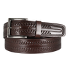 Tooled Stitch Brown Leather Men's Belt