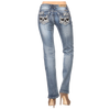 Skull Rhinestone Women's Light Wash Jeans