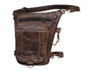 Vintage Leather Thigh Bag with Waist Belt