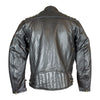 Mens Leather Ribbed Padding Cycle Jacket