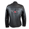 Women's Reflective Heart Accent Leather Motorcycle Jacket