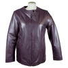 Women's Plus Size Snap Collar Leather Jacket