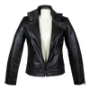 Women's Snap Collar Biker Style Leather Jacket