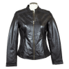 Women's Round Collar Leather Jacket