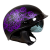 VOSS 707 Cruise Carbon Fibre Peak Half Helmet Black Skull and Rose