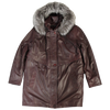 Ebru Burgundy Fur Trim Coat