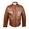 Men's Quilted Shoulders Leather Jacket