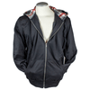 Men's Zip Up Hoodie with Checkered Hood
