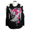 Ladies Cutout Rose Wing Long Sleeve Top