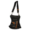 Contrast Stitching Leather Thigh Bag with Waist Belt