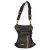 Grommet Detail Leather Thigh Bag with Waist Belt