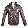 Men's Hooded Snap Collar Leather Jacket
