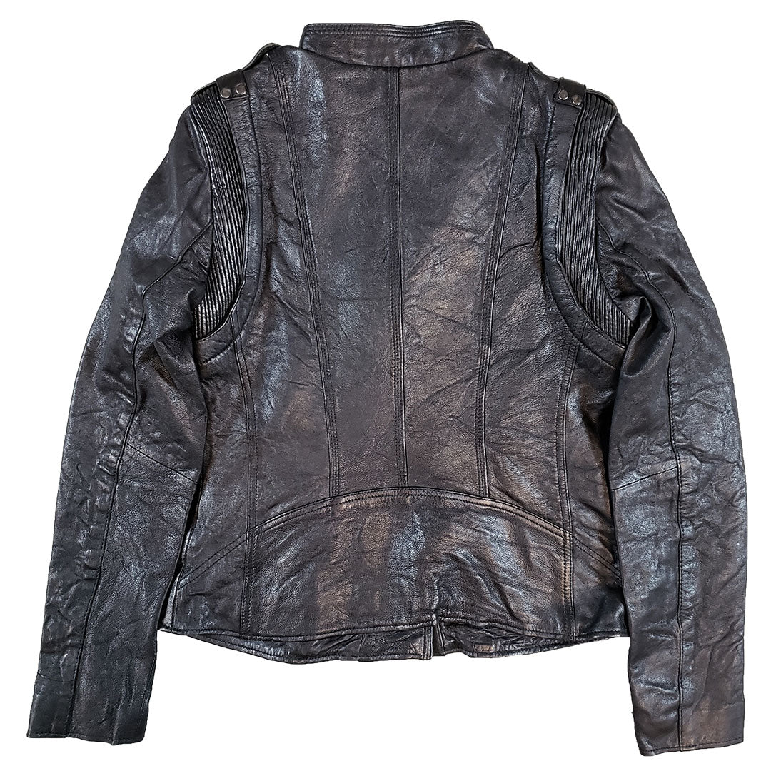 Biker Style Stitch Accent Leather Jacket Boutique Of Leathers Open