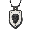 Black Leather Skull Pendant with Chain