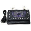 Skull Wings Leather Cross Body Clip Bag