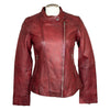 Women's Side Zip Leather Racer Jacket