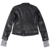 Fabric Cuff Women's Leather Jacket