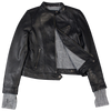 Women's Fabric Cuff Leather Jacket
