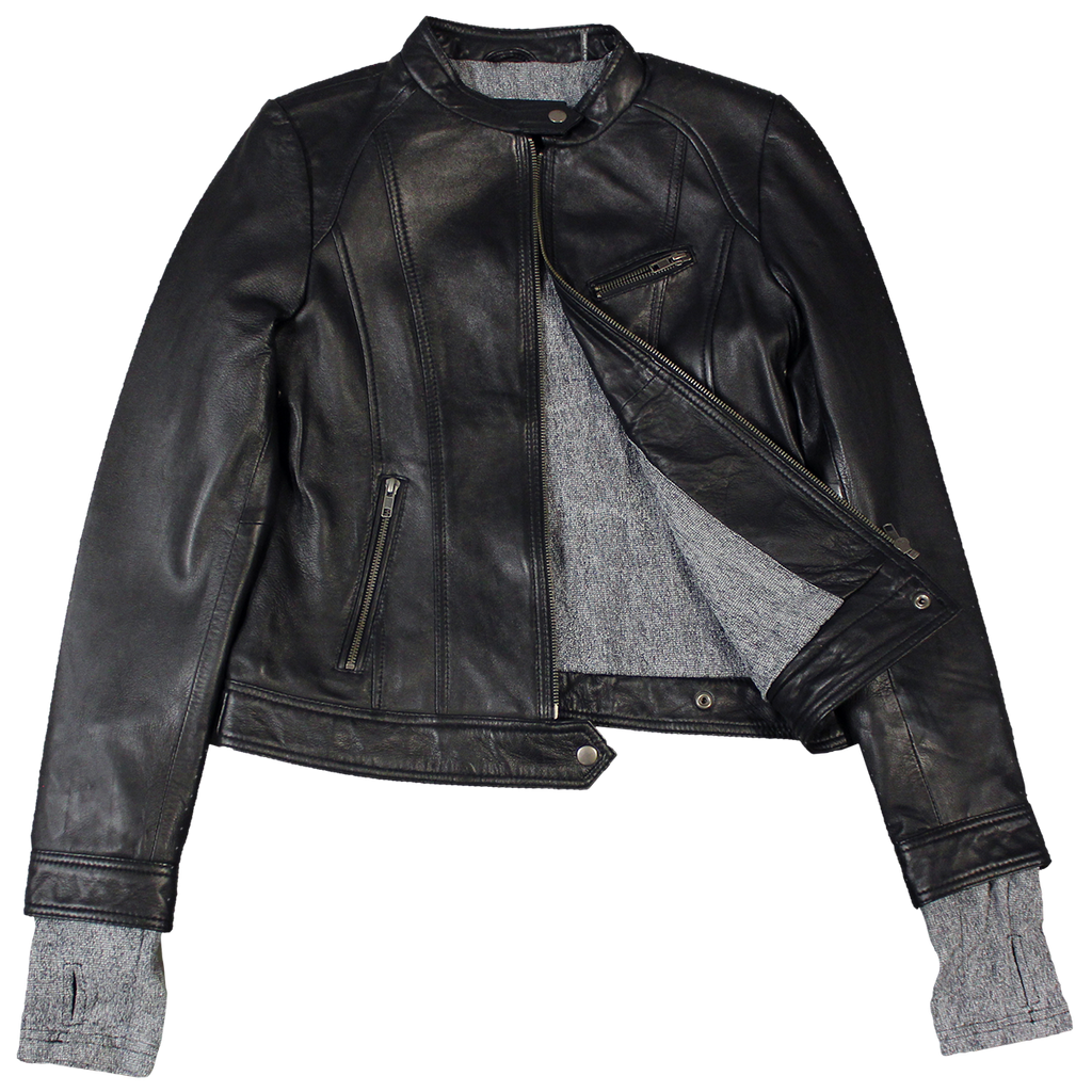 3fa41a5a2ea9 Fabric Cuff Women s Leather Jacket - Boutique of Leathers Open Road