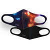 Galaxy Print & Solid Black 2 Pack Face Masks
