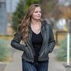Women's Removable Hood Leather Jacket