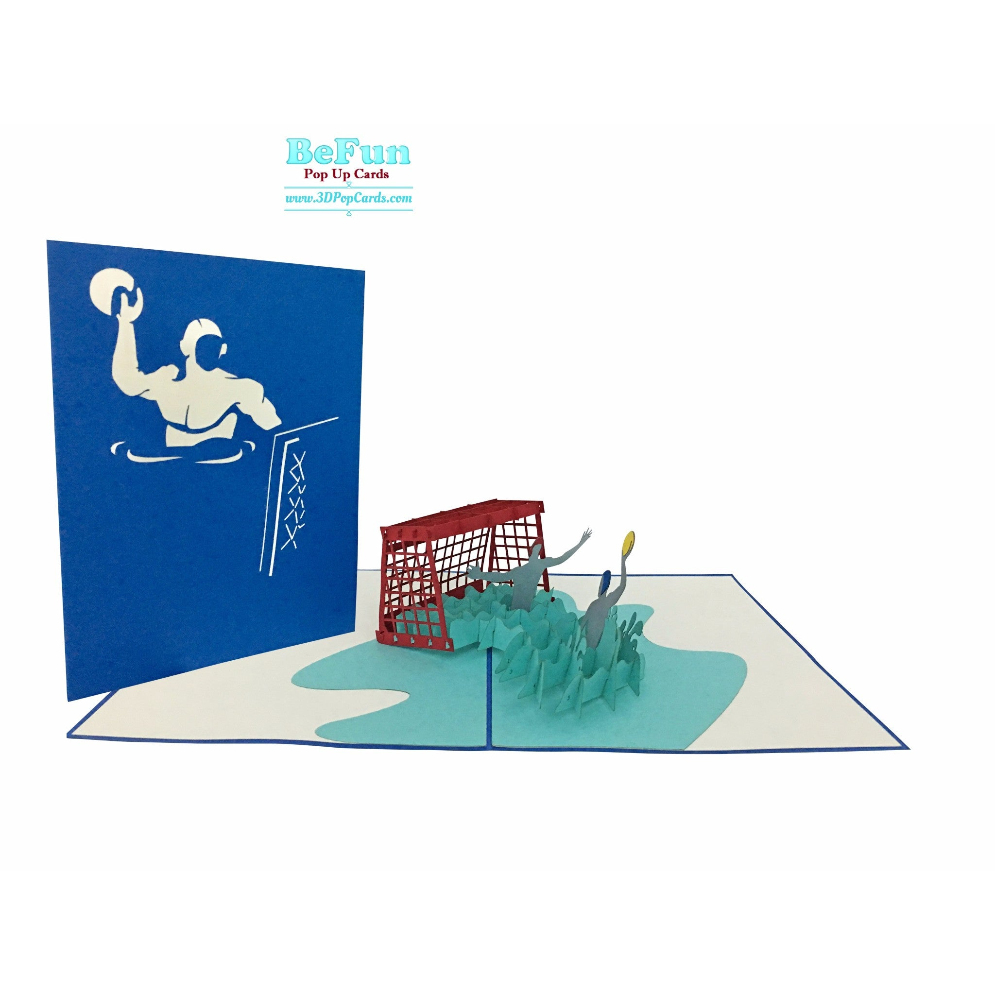 Water polo swimming pop up greeting card unique gift for sport fans water polo swimming pop up card kristyandbryce Choice Image