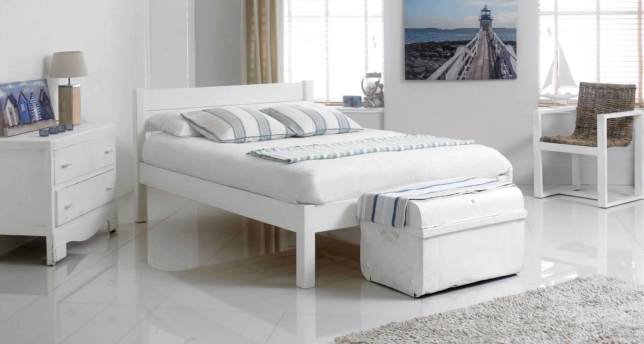White Rose Wooden Bed Frame - Cheap Beds Direct