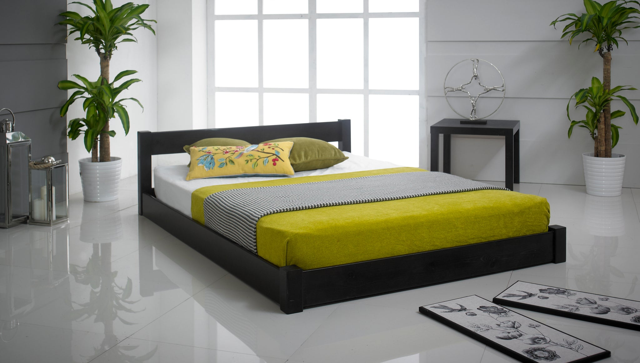 Low Oriental Wooden Bed Frame - Cheap Beds Direct