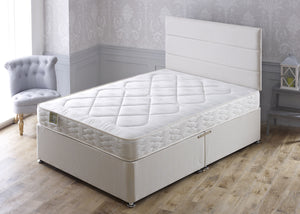 Marathon Divan Bed Set with Damask Coil Sprung Medium Comfort Mattress - Cheap Beds Direct