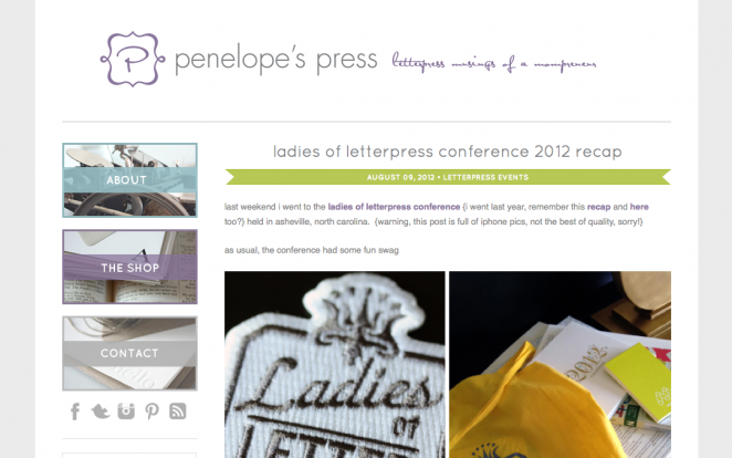 penelope's press website layout